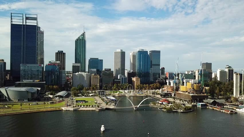 Aerial 4k video of City of Perth and Swan River. Perth. Western Australia.