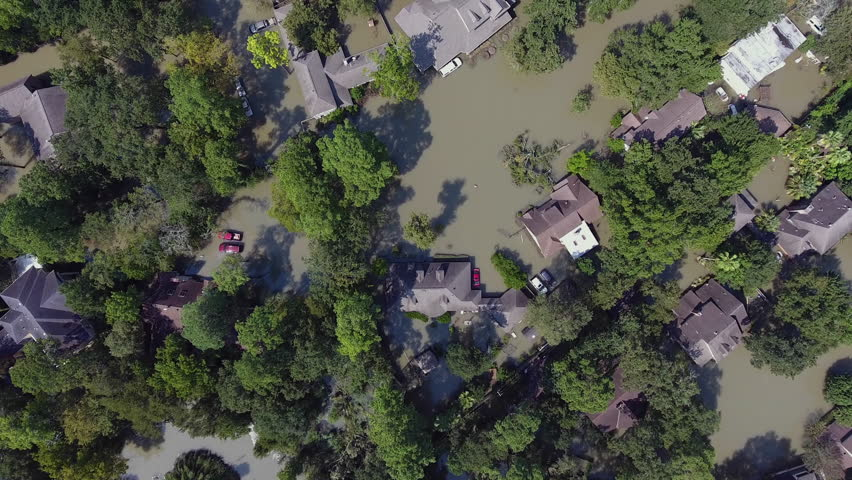 Aerial over flooded neighborhood during Hurricane Harvey in Houston