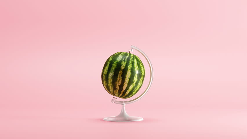 Water melon turn around Mimicry minimal idea concept on pastel pink background. 3D Animation