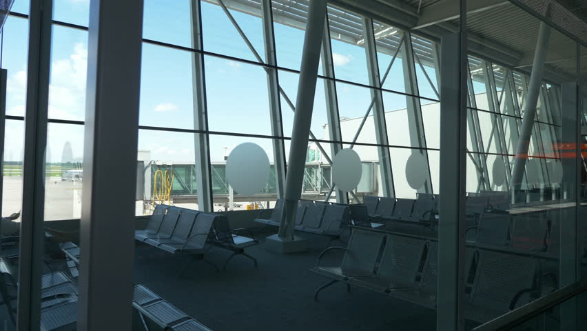 Professional video of empty airport terminal in 4K