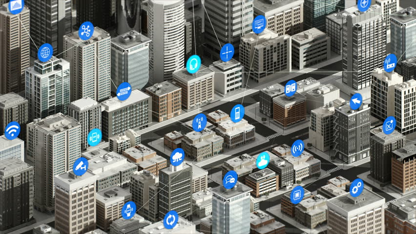 Internet of things icon on Smart city, Building concept. 4K size movie. Royalty-Free Stock Footage #1009392695