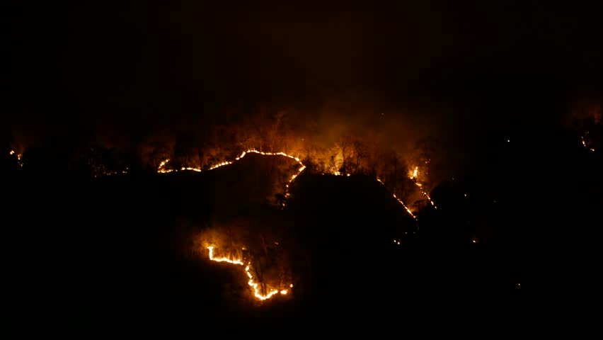 Forest fire at night time lapse. Mae Hong Son Thailand. time-lapse | Shutterstock HD Video #1009413707
