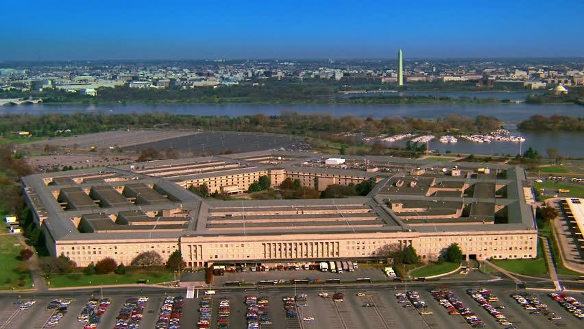 WASHINGTON DC - CIRCA 1990s - 1990s - Aerial over the Pentagon in Washington D.C.