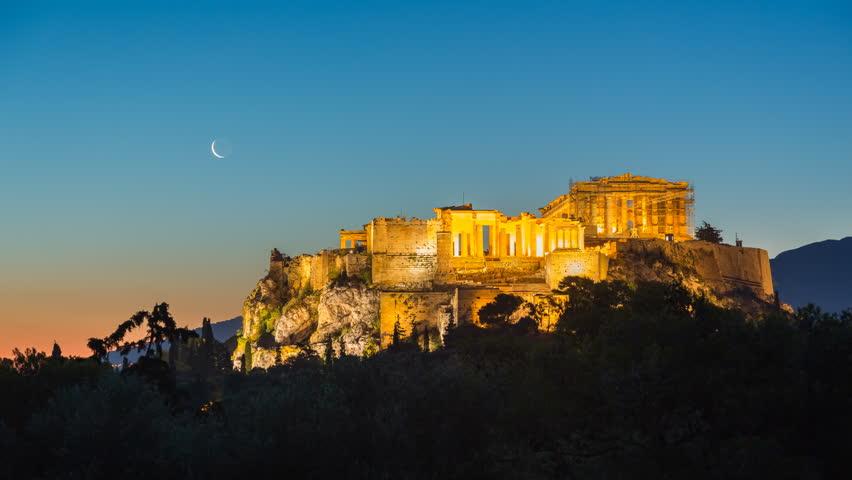 Parthenon, Acropolis of Athens, Greece - Timelapse of summer sunrise