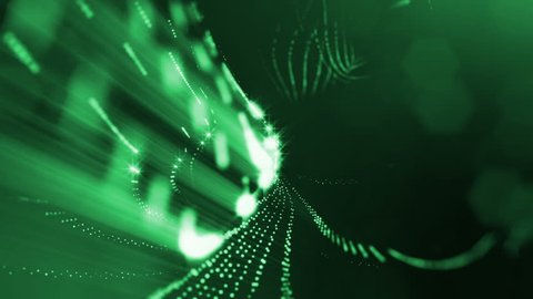 Virtual space with depth of field. Looped holographic background with particles form lines, surfaces, grid. Green ver.18