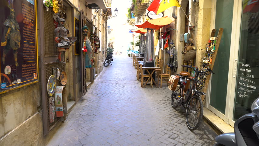 Typical old street,  Italy, Sicily  Ortigia Island, Syracuse | Shutterstock HD Video #1009473473