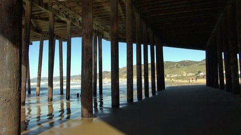Pan Right to Left: People Exploring the Pismo Pier