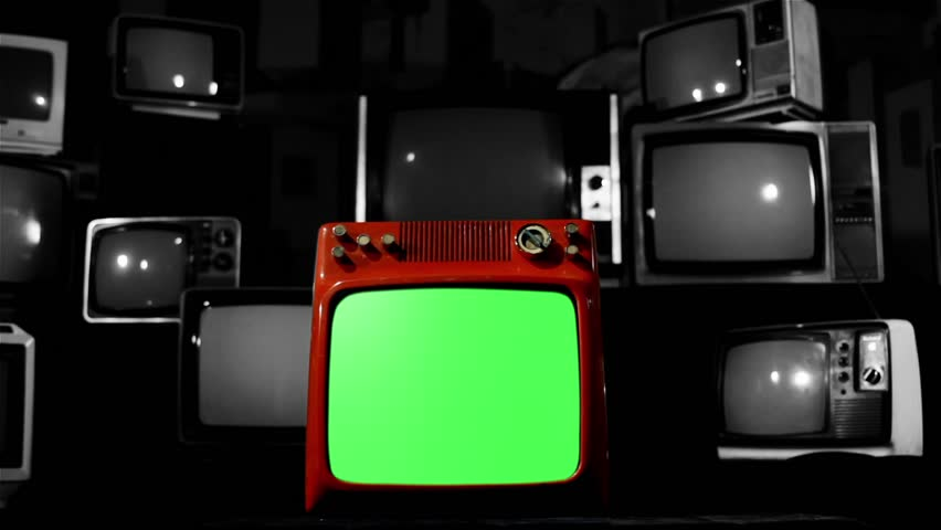 A Red TV with Green Screen in the Foreground over a Retro TV Background. Dolly In. Black and White Tone.  | Shutterstock HD Video #1009488773