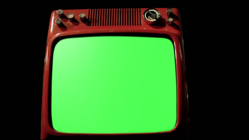 An Old Retro Red TV with Green Screen in the Foreground over Many Retro TVs Fading in the Background. Dolly Out and Dolly In. Iron Tone.  | Shutterstock HD Video #1009488800