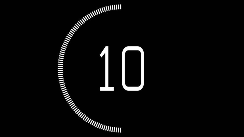 10 to 1 Countdown UX. Circular UX alpha element for transparency counting down from ten to one, animating ON and OFF.
