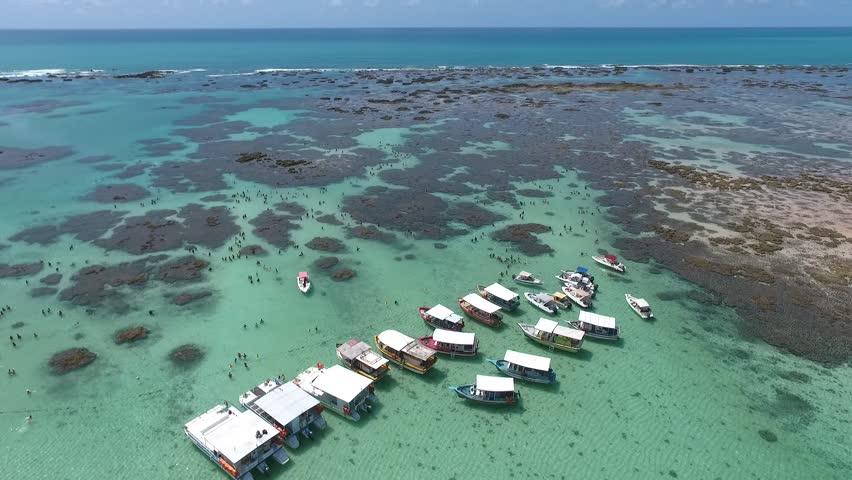 Maragogi, Alagoas / Brazil - 03/28/2017: aerial view of Maragogi Reefs, an area of marine environmental protection called APA Costa dos Corais