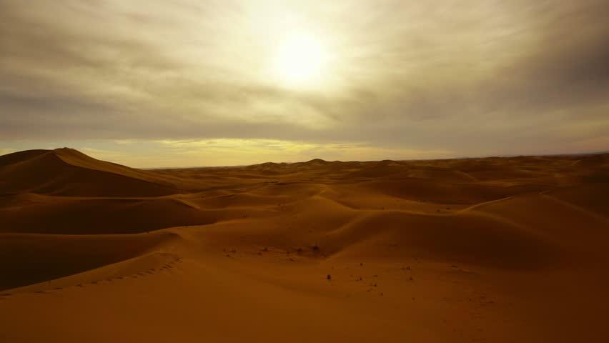 Beatiful landscape in Sahara desert at sunset, timelapse 4k   Shutterstock HD Video #1009492496