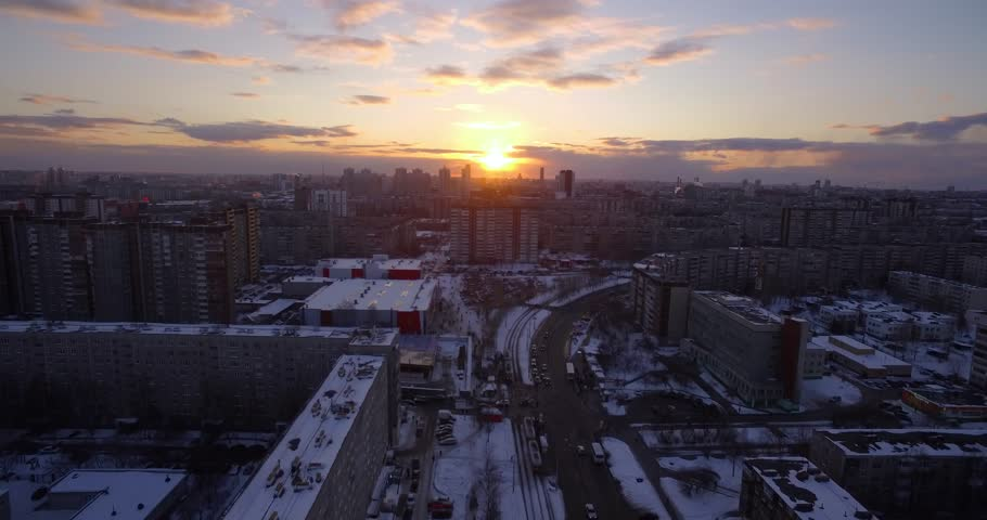 Sunset in the city with a quadcopter. #1009494806