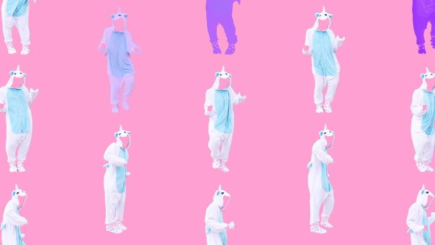Minimal Motion design art. Dancing unicorn on pink #1009498448
