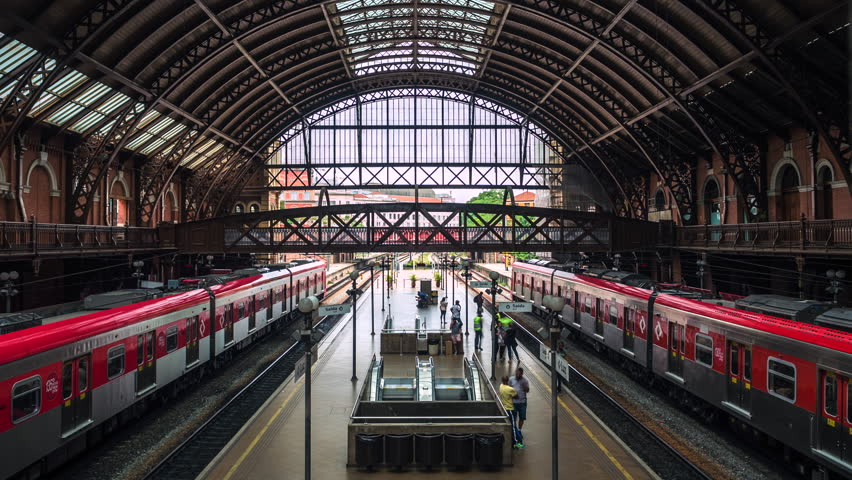 Sao Paulo, Brazil - January 27: Time lapse view of Luz Station (Portuguese: Estacao da Luz ) in Sao Paulo, the financial centre and largest city in Brazil, South America.