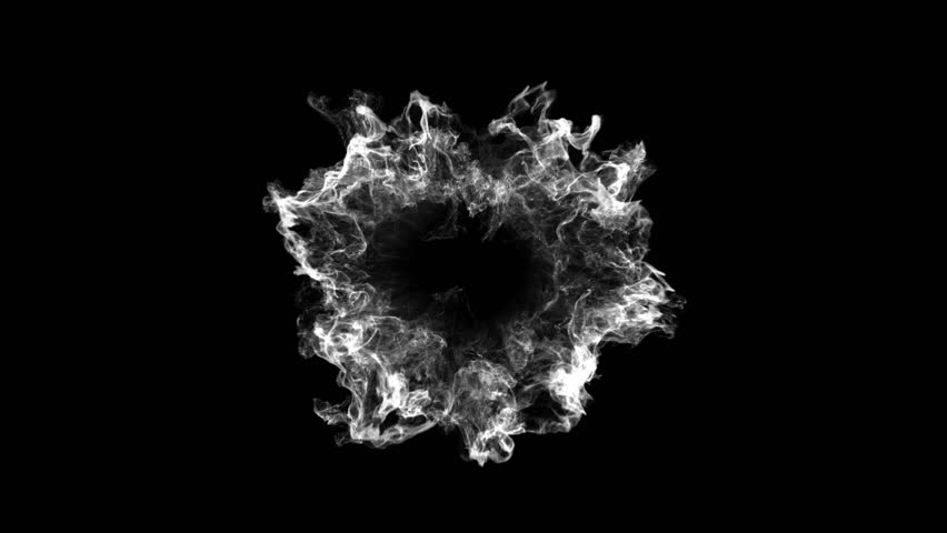 3D smoke explosion shockwave effect and divergent wave isolated on black background. abstract smoke explosion animation. Top camera view from above