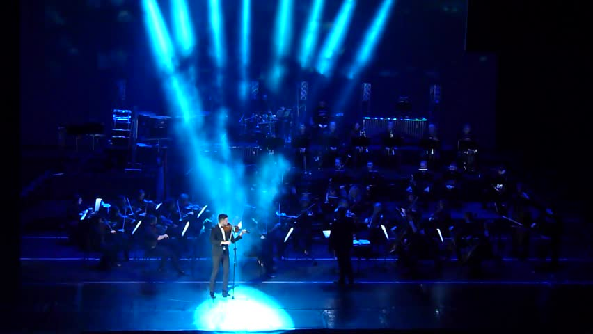 DNIPRO, UKRAINE - FEBRUARY 11, 2018: Symphonyic  Show performed by members of the Dnipro Opera and Ballet Theatre -  conductor Yuri Porohovnik. | Shutterstock HD Video #1009516280