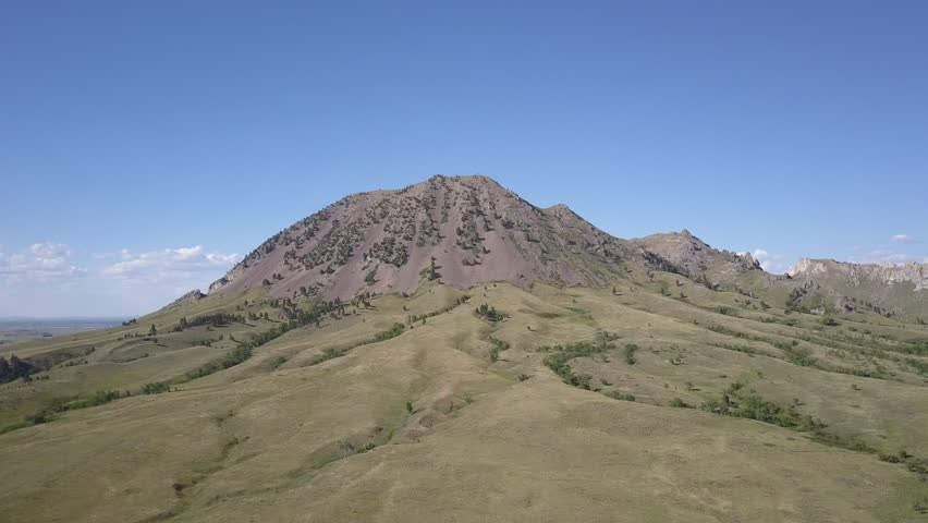Prairie Sturgis Summer Hill Butte Erosion Gullies Mountain Landmark Sacred Site Indian Moving Gliding Aerial