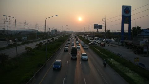 19 February 2018 Samut Sakhon Thailand,Cars driving on Rama2 RD in afternoon for for go home on evening