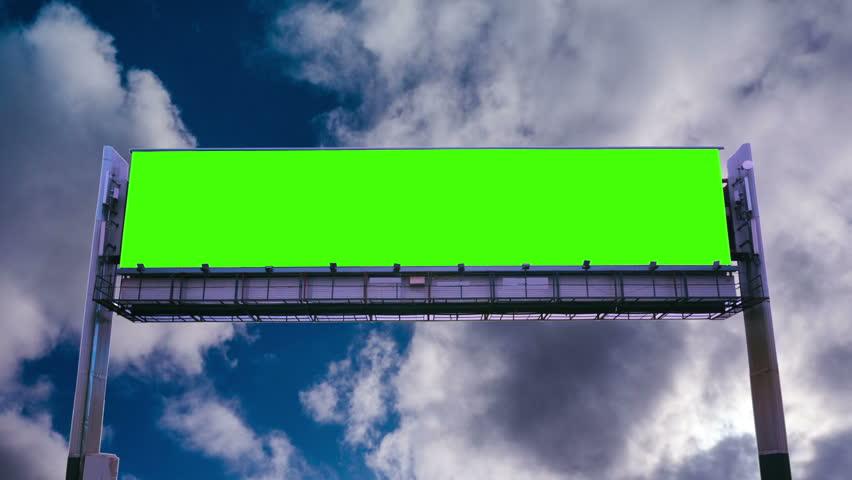 Billboard green screen on sky background | Shutterstock HD Video #1009536002