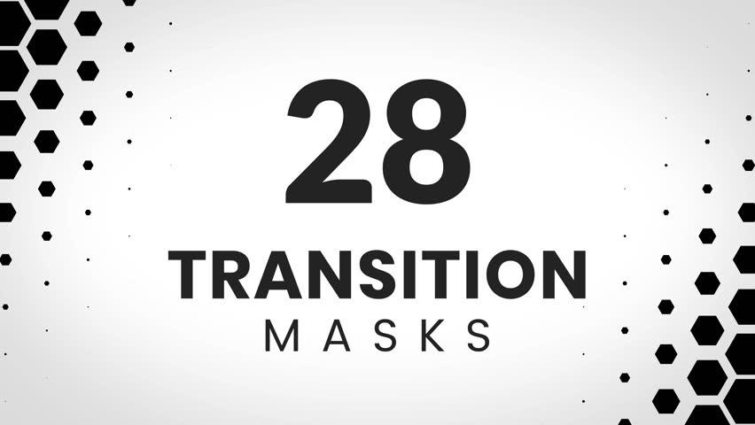 28 transition masks templates made form hexagons. Geometric hexagonal pattern for slideshow.