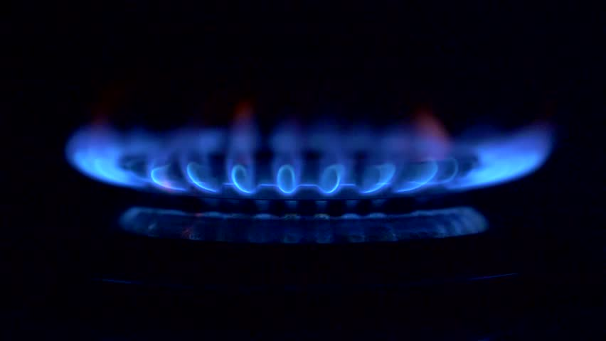 Gas is switching on, apearing blue flame. Gas stove on black background. | Shutterstock HD Video #1009536641