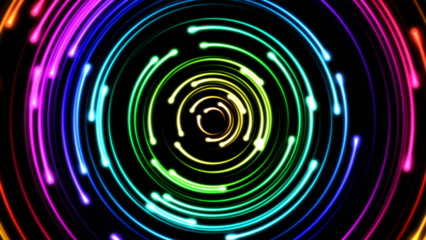 Colorful Fast Animated Circular Light Strokes - Loop Rainbow