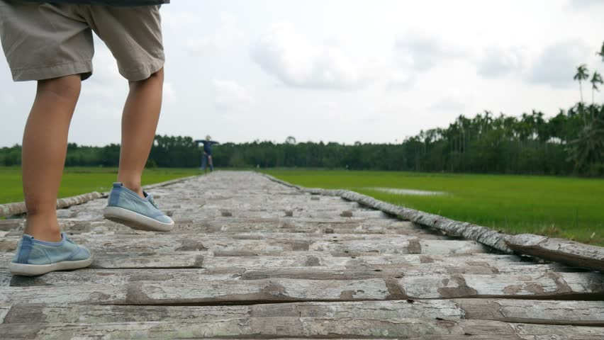 Children happy to walking on the wooden bridge with rice farm background   Shutterstock HD Video #1009555169