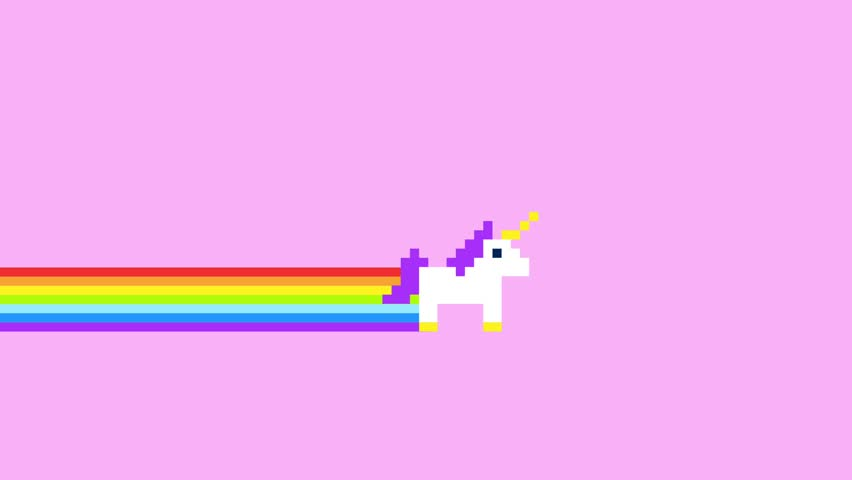 Pixel Art Style Unicorns and Rainbows Animated Background 4K Clip. | Shutterstock HD Video #1009561313