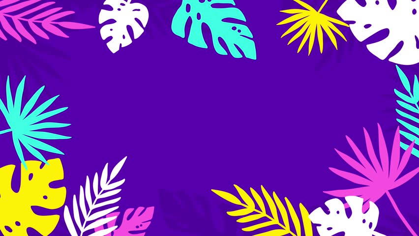 Colorful Tropical Jungle Background Frame of Palm Tree Leaves. 4K Animated Footage. #1009565627