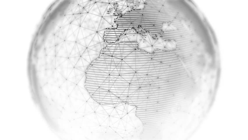 Digital world globe - 3D rendering of a technology connected data network. Seamless loop