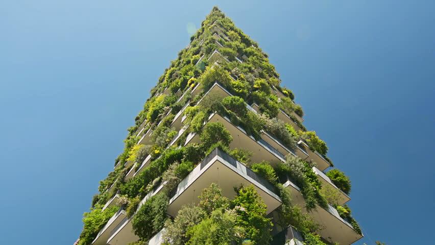 Modern ecological building with vertical gardens   Shutterstock HD Video #1009581317