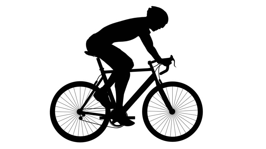 The silhouette vector of Men's Cycling road bike on white background ,looping video