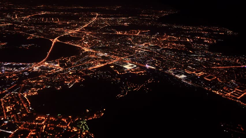 view from airplane window at night