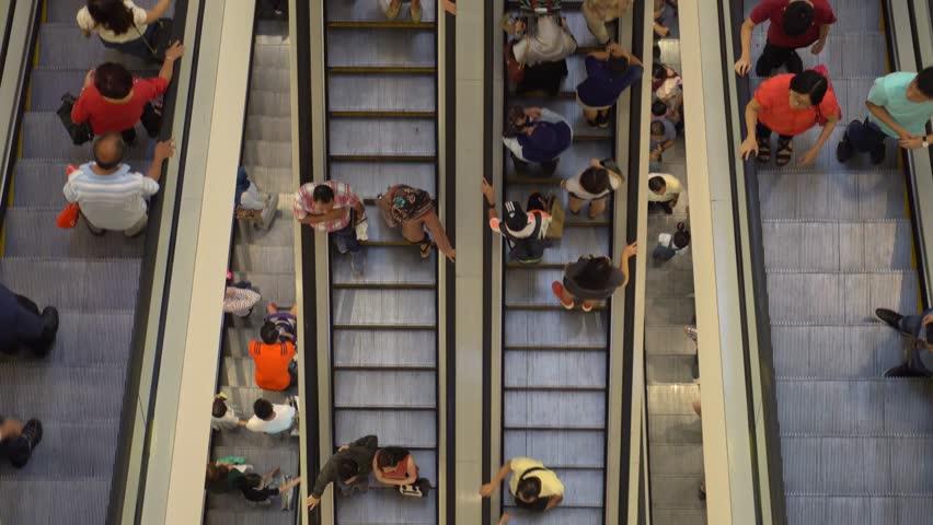 People Using Escalator. Top View, Malaysia - 14 February 2018