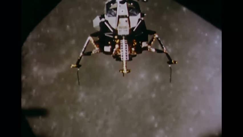 CIRCA 1969 - Apollo 11's lunar module closes in on the moon.