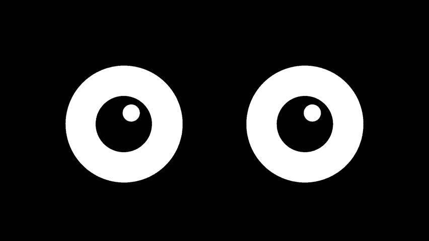 Cartoon big eyes blinking in the dark. animated winking
