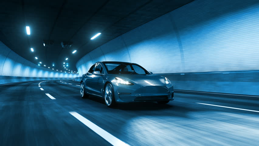 Modern Electric car rides trough tunnel with cold blue light style