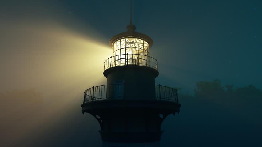 Lighthouse light spining around. Loopable animation.