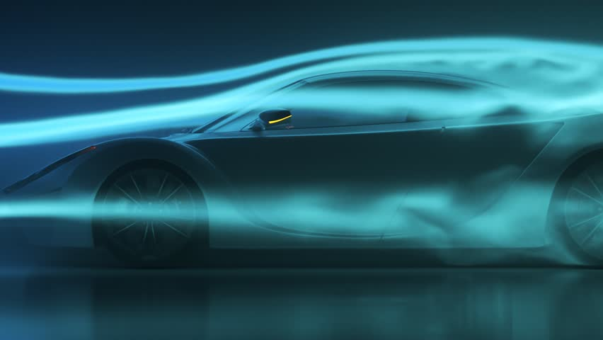 03285 Concept super sport car testing aerodynamics inside wind tunnel.