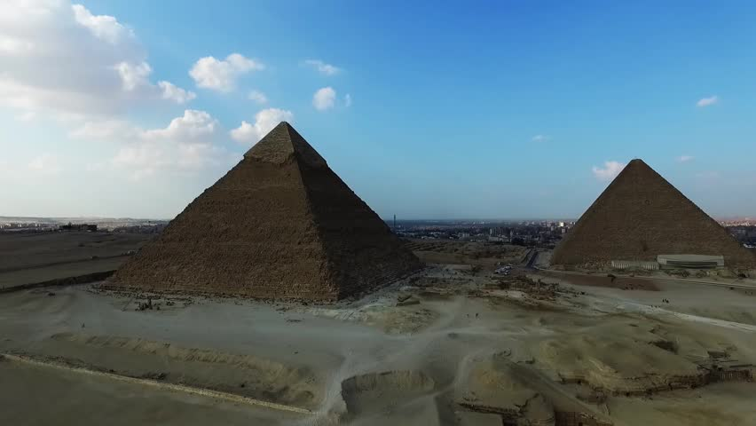 Aerial view of the great pyramids in Giza valley, Cairo, Egypt  | Shutterstock HD Video #1009632776