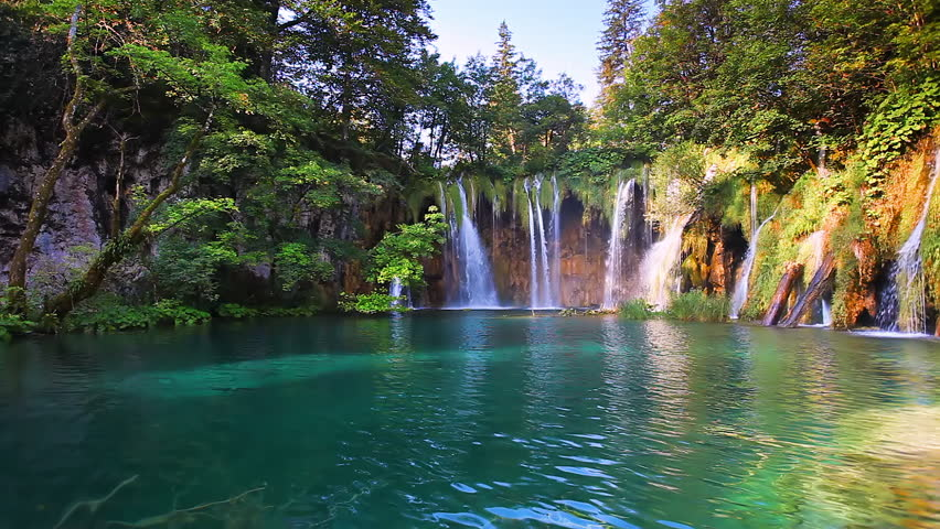 Amazing view on turquoise water. Location famous resort Plitvice Lakes National Park, Croatia, Europe. Scenic footage of popular tourist attraction. Discover the beauty of earth. Full HD 1080p video. | Shutterstock HD Video #1009642079