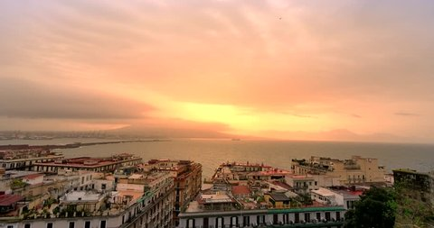 Panorama of Naples, city seen from Castel Sant'Elmo. Cloudy day in Naples, Italy