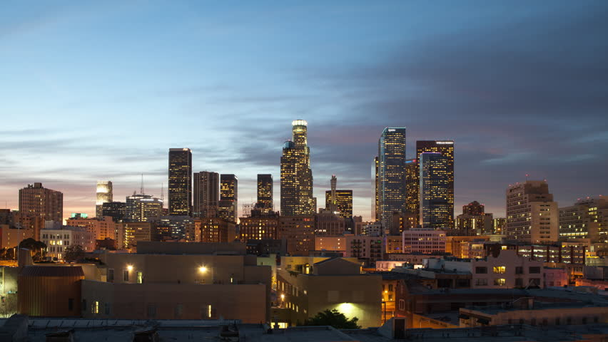 A timelapse of the Los Angeles downtown skyline that goes from day to night, then back to day.  Includes a beautiful sunset, fog that rolls in, and an overcast morning.