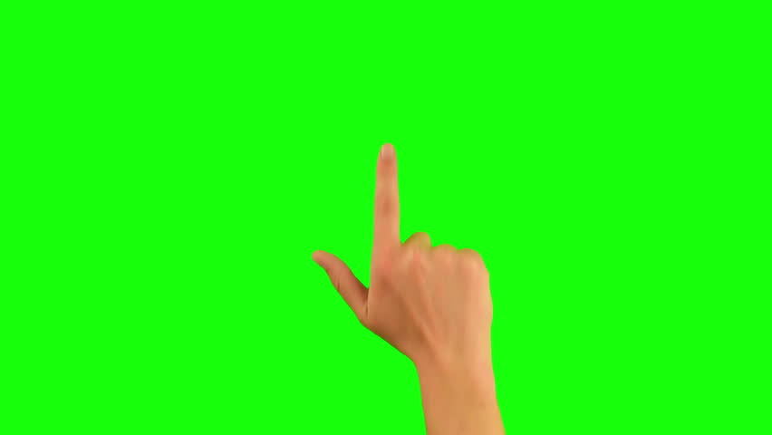 Gestures chroma key pack. 20 Gestures at green screen background. Man hand close up showing multitouch gestures for touch screen: click, zoom, vertical, horizontal slide, scrolling. 100% green screen.