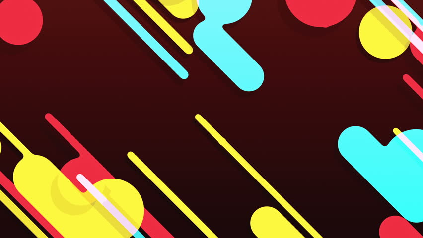 Abstract background in flat style with animation of rounded rectangles, circles and lines with light shadow or neon glow on colorful backdrop. Animation of seamless loop. | Shutterstock HD Video #1009683896