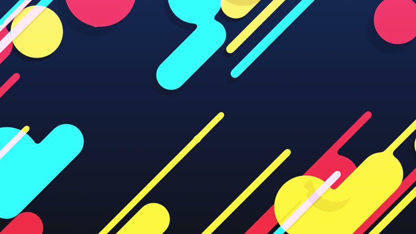 Abstract background in flat style with animation of rounded rectangles, circles and lines with light shadow or neon glow on colorful backdrop. Animation of seamless loop. | Shutterstock HD Video #1009683905