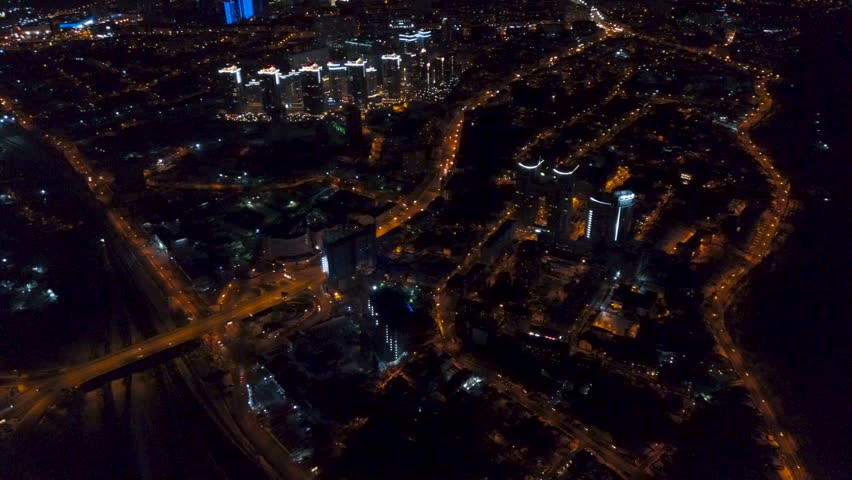 Vertical top down aerial view of night panorama of a big city | Shutterstock HD Video #1009705208