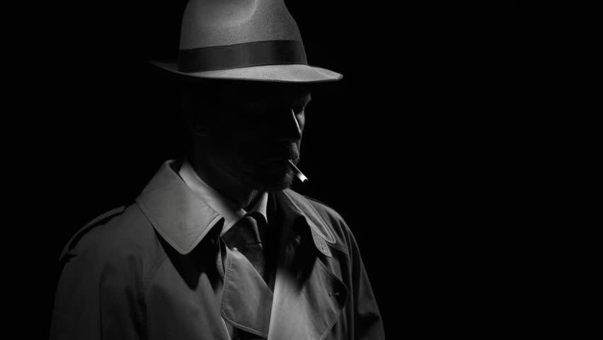 Noir Film Detective Standing in Stockvideoklipp på (helt royaltyfria)  1009708991 | Shutterstock
