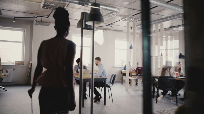 Camera follows African American woman boss enter office, give directions to workers. Multiethnic group teamwork 4K. | Shutterstock HD Video #1009709834